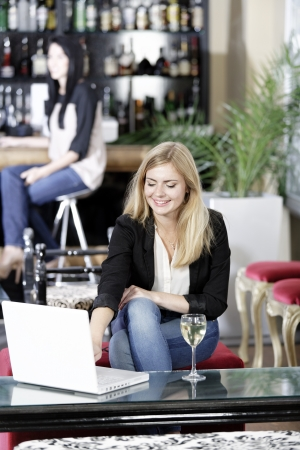Beautiful young woman chatting with friends on her laptop while enjoying a glass of wine in a bar Stock Photo - 16217688
