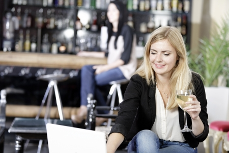 Beautiful young woman chatting with friends on her laptop while enjoying a glass of wine in a bar Stock Photo - 16217678