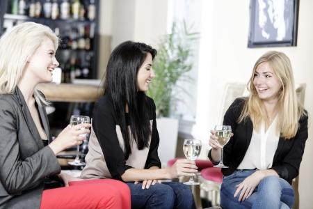 female friends enjoying a drink together at a wine bar.