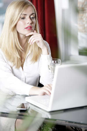 Attractive woman working on her laptop catching up after a long day. Stock Photo - 16217701