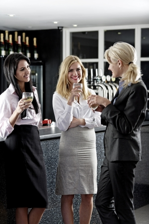 Beautiful young women enjoying a glass of wine after work at a bar. Stock Photo - 18000693