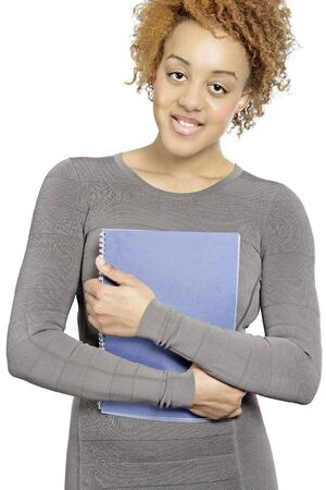 beautiful young business woman holding blue folders Stock Photo - 18692751