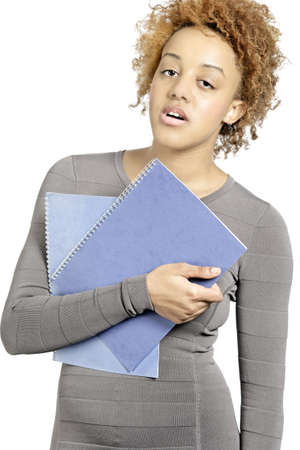 Young business woman holding folders and under stress Stock Photo - 18692742