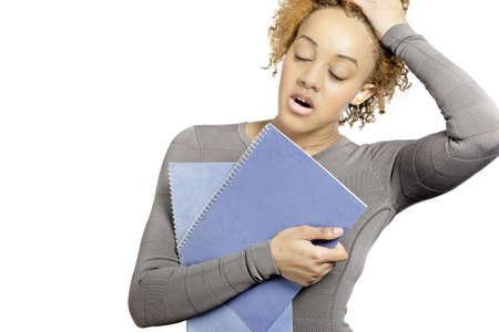 Young business woman holding folders and under stress Stock Photo - 18692706