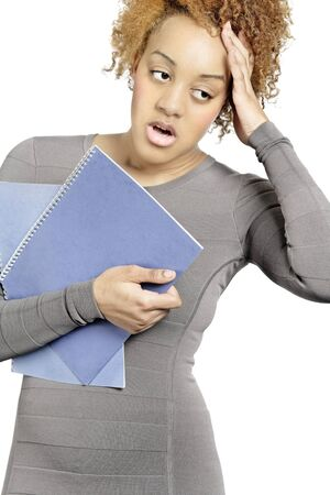 Young business woman holding folders and under stress Stock Photo - 18692740