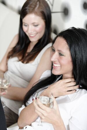 Two attractive young friends catching up at home on the sofa with a glass of wine. Stock Photo - 18940062