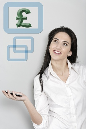 Woman holding out her mobile phone which is displaying a pond sign Stock Photo - 19070890