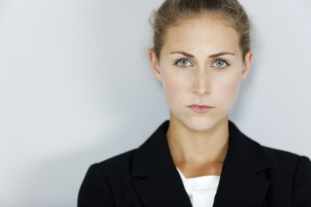 Attractive business woman looking stressed and concerned. photo