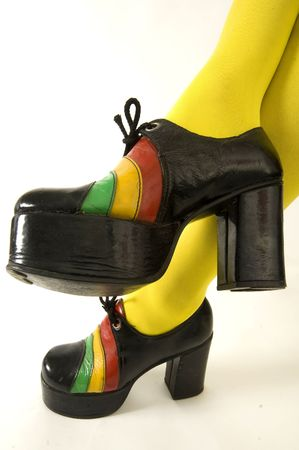 collectable: Funky retro platform shoes Stock Photo