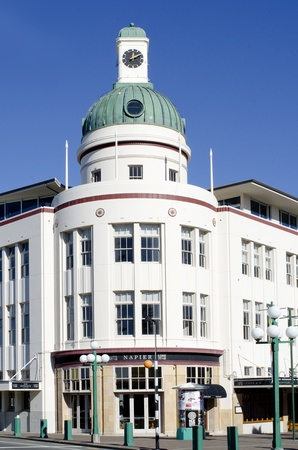 Napier, New Zealand, - May 23,  2011: Art Deco building in Napier city