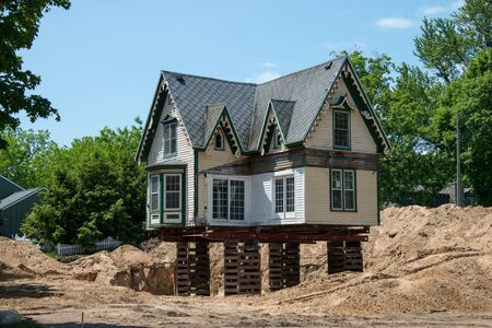 relocated: Relocated house awaiting to be secured to its new site in Michigan, USA