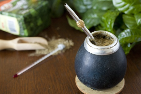 yerba mate gourd and a bombilla.