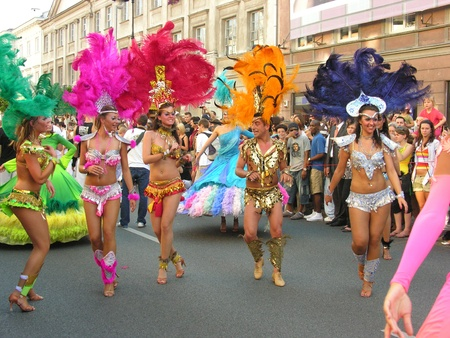 warsaw, september 6 2008, parade on 6th festiwal of brazilian culture in warsaw