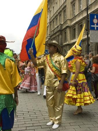 warsaw, june 19 2010, carnaval de barranquilla parade warsaw castle square