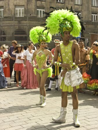 pageant: warsaw, june 19 2010, carnaval de barranquilla parade warsaw krakowskie przedmiescie