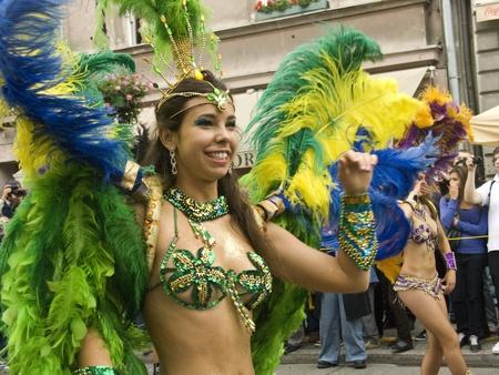 warsaw, september 5 2009,  parade on 7th festiwal of brazilian culture Bom dia Brasil in warsaw Editorial