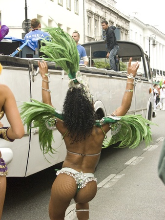 pageant: warsaw, september 5 2009,  parade on 7th festiwal of brazilian culture Bom dia Brasil in warsaw Editorial