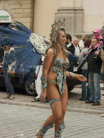 pageant: warsaw, september 5 2009,  parade on 7th festiwal of brazilian culture in warsaw