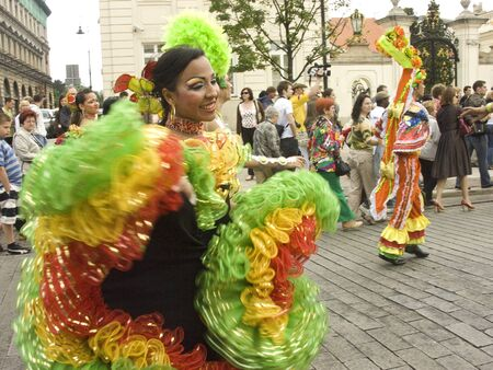 krakowskie przedmiescie: warsaw, june 19 2010, carnaval de barranquilla parade warsaw krakowskie przedmiescie