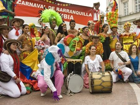 warsaw, june 19 2010, carnaval de barranquilla parade warsaw krakowskie przedmiescie