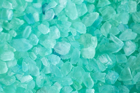 closeup of a green bath salt