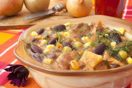 dish with beans and meat for dinner Stock Photo - 11026819