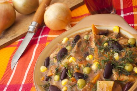 dish with beans and meat for dinner Stock Photo - 11026823