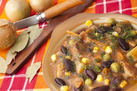 dish with beans and meat for dinner Stock Photo - 11026824