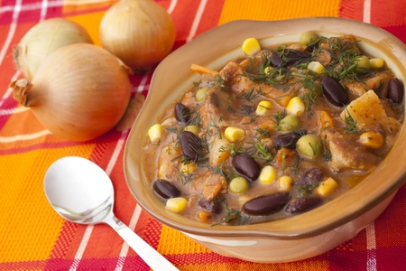 dish with beans and meat for dinner Stock Photo - 11026821