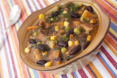 dish with beans and meat for dinner Stock Photo - 11026817
