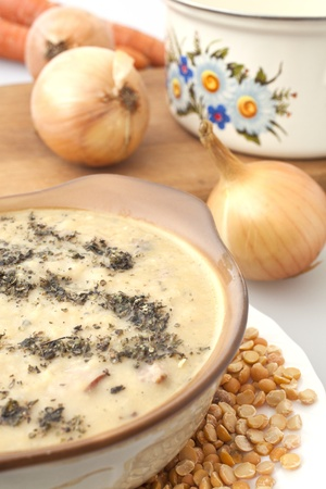 closeup of a pea soup with onions Stock Photo - 11178316