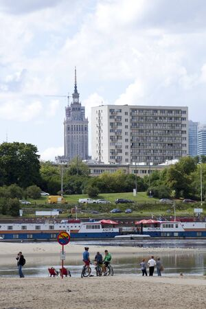 Panorama of Warsaw with river