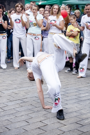 Warsaw, august 26, 2012,-Capoeira on Warsaw Multicultural Street Parade Stock Photo - 14998697