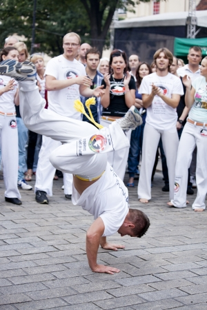 Warsaw, august 26, 2012,-Capoeira on Warsaw Multicultural Street Parade Stock Photo - 14998700