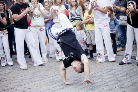 Warsaw, august 26, 2012,-Capoeira on Warsaw Multicultural Street Parade Stock Photo - 14998699