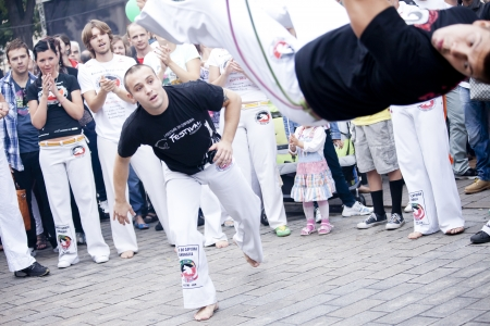 Warsaw, august 26, 2012,-Capoeira on Warsaw Multicultural Street Parade