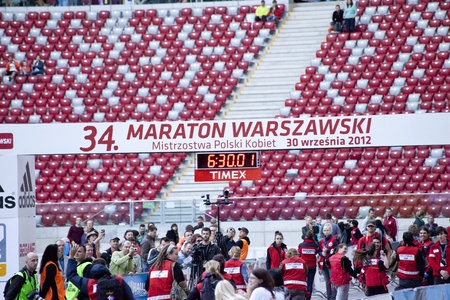 Warsaw, Poland, September 30: Unidentified runners on 34. Warsaw Marathon on September 30, 2012, Warsaw, Poland Stock Photo - 15509152