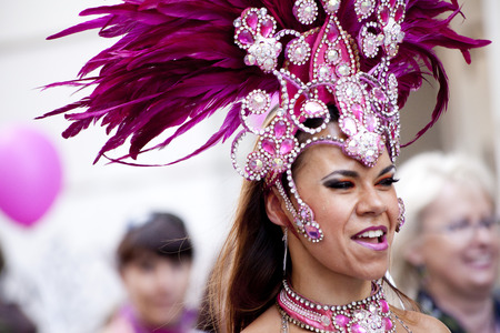 WARSAW, POLAND, SEPT 8: Unidentified Carnival dancers on the XV Ribbon Walk against the Breast Cancer september 8, 2012 in Warsaw, Poland. Editorial