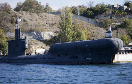 SEVASTOPOL, UKRAINE - OCTOBER 25 , 2012: Russian submarine anchored in the bay of Sevastopol, Crimea, Ukraine on 25 October 2012