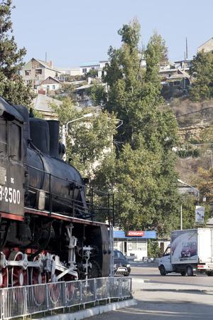 SEVASTOPOL, UKRAINE - OCTOBER 27 , 2012: Locomotive with inscription Smiert Fashysmu- No Fascism, railway station,  Crimea, Ukraine on 27 October 2012