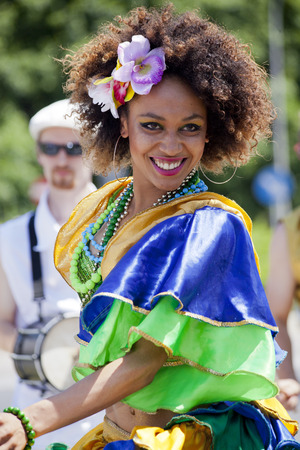 WARSAW, POLAND, June 8: Unidentified Carnival dancer on the stage on XII Brazilian Festival on June 8, 2014 in Warsaw, Poland.