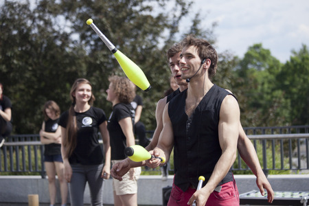 aurillac: Warsaw, Poland - May 30: juggler taking part in the 18. Science Picnic , on may 30, 2014, in Warsaw, Poland