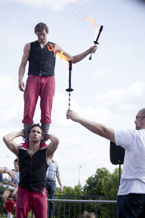 aurillac: Warsaw, Poland - May 30  juggler taking part in the 18  Science Picnic , on may 30, 2014, in Warsaw, Poland