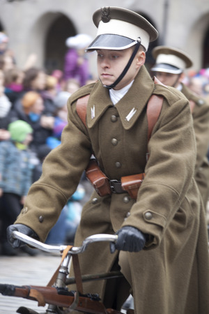 historic world event: Warsaw, Poland - 11 November, 2015. The parade of military  reenactors groups.