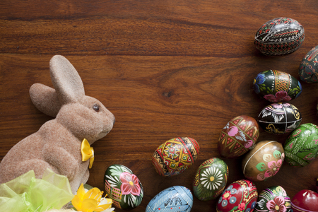 paskha: traditional easter eggs on wooden table Stock Photo