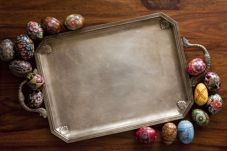 paskha: easter eggs on retro tray Stock Photo