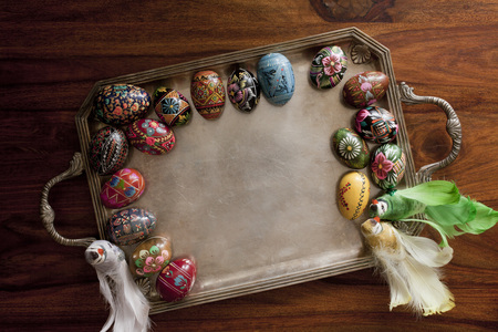 easteregg: easter eggs on retro tray Stock Photo