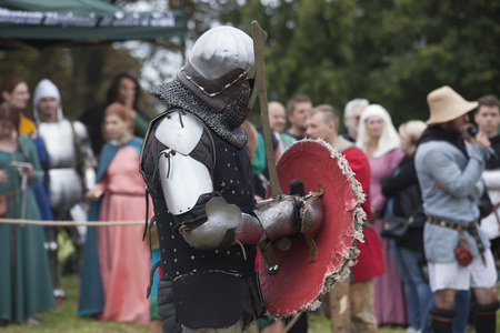 LIW, POLAND - September 13, 2016: Historical restoration of knightly fights on XV Knights tournament in LIW