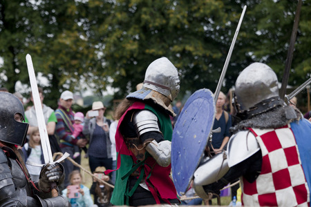 chivalry: LIW, POLAND - September 13, 2016: Historical restoration of knightly fights on XV Knights tournament in LIW