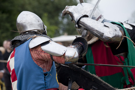 knightly: LIW, POLAND - September 13, 2016: Historical restoration of knightly fights on XV Knights tournament in LIW